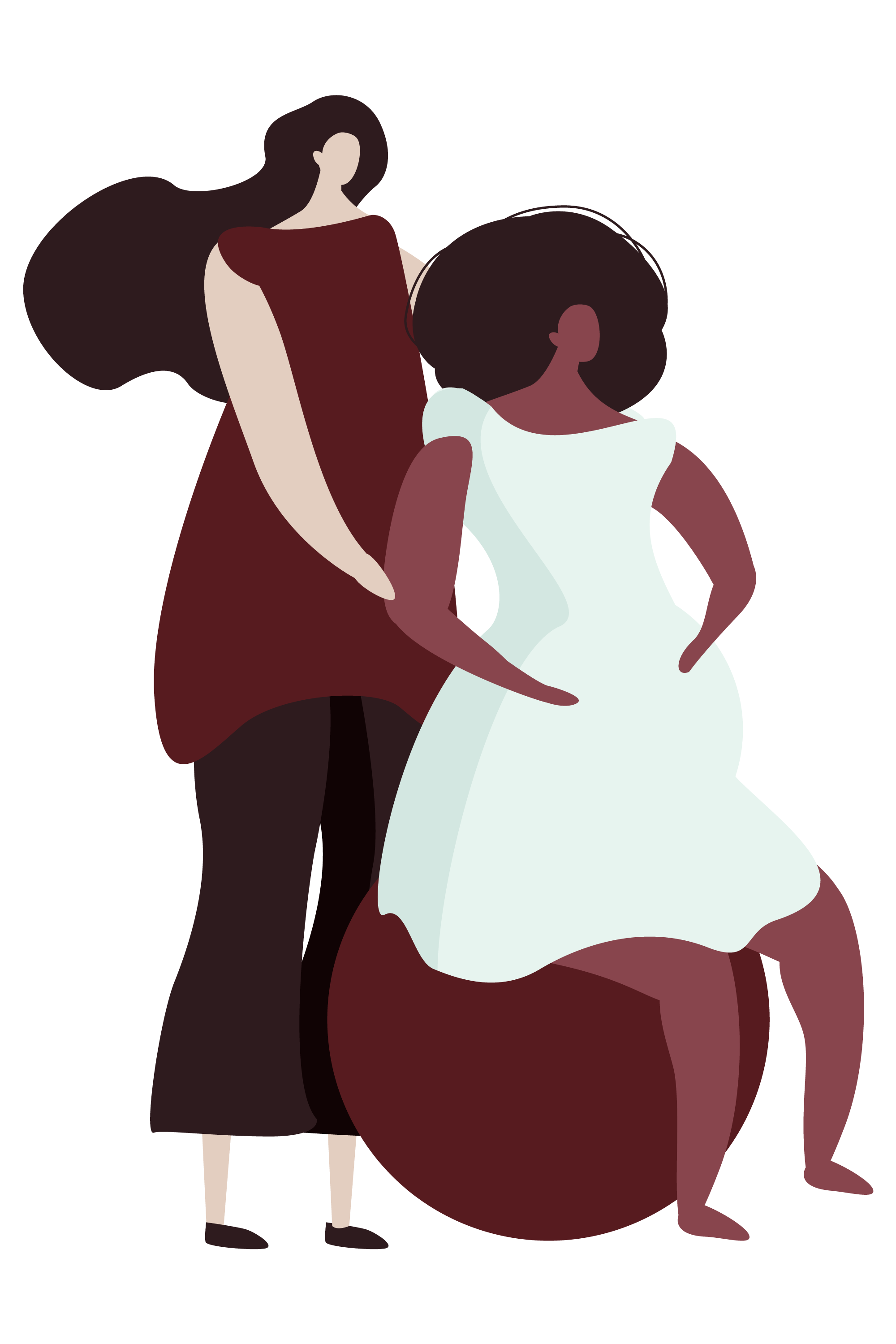 Illustration of birth doula support for parents.