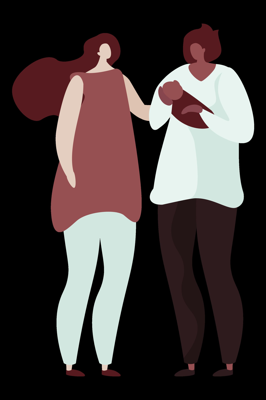 Illustration of postpartum doula support for parents.